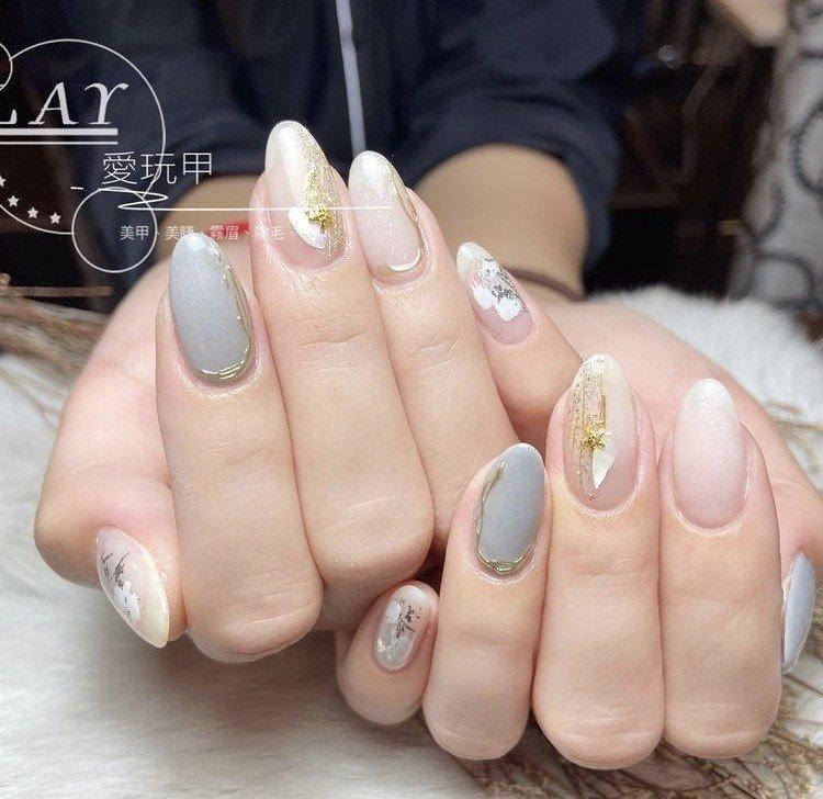 上班族光療凝膠指甲 灰色系 立體金屬