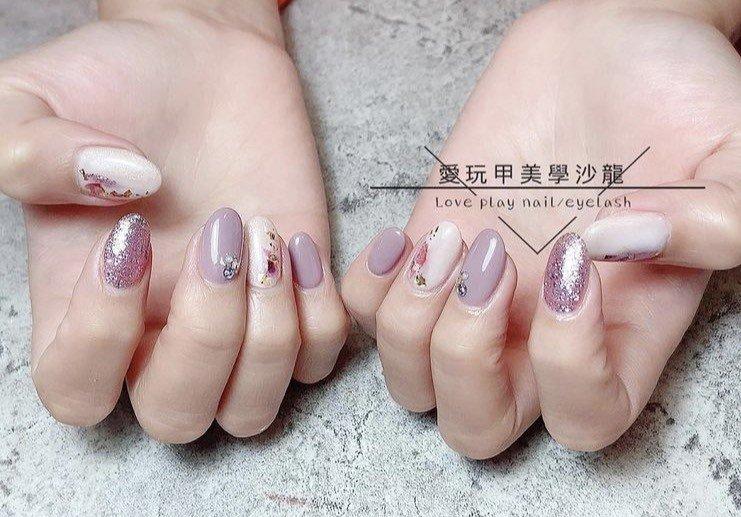 上班族光療凝膠指甲 紫色指甲 貝類美甲款式